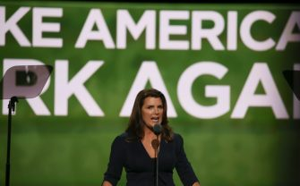 CLEVELAND, OH - JULY 19: Actress Kimberlin Brown speaks at the second day of the Republican National Convention on July 19, 2016 at the Quicken Loans Arena in Cleveland, Ohio. An estimated 50,000 people are expected in Cleveland, including hundreds of protestors and members of the media.  (Photo by Tasos Katopodis/WireImage)