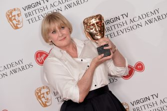 LONDON, ENGLAND - MAY 14:  Sarah Lancashire, winner of the Leading Actress award for 'Happy Valley', poses in the Winner's room at the Virgin TV BAFTA Television Awards at The Royal Festival Hall on May 14, 2017 in London, England.  (Photo by Jeff Spicer/Getty Images)