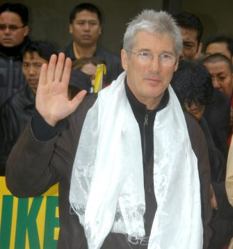 Richard Gere during Richard Gere Meets Tibetan Hunger Strikers at the United Nations at Dag Hammarskjold Plaza in New York City, New York, United States. (Photo by Djamilla Rosa Cochran/WireImage)