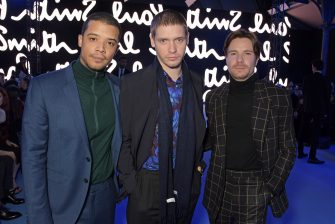 PARIS, FRANCE - JANUARY 19: (L to R)  Jacob Anderson wearing Paul Smith, Billy Howle wearing Paul Smith and Joe Dempsie wearing Paul Smith attend the Paul Smith AW20 50th Anniversary show as part of Paris Fashion Week on January 19, 2020 in Paris, France.  (Photo by David M. Benett/Dave Benett/Getty Images for Paul Smith)