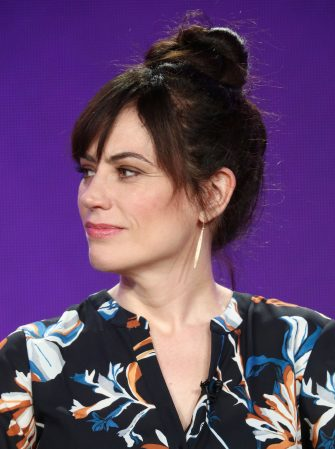 PASADENA, CA - JANUARY 06:  Actress Maggie Siff of the television show BILLIONS speaks onstage during the CBS/Showtime portion of the 2018 Winter Television Critics Association Press Tour at The Langham Huntington, Pasadena on January 6, 2018 in Pasadena, California.  (Photo by Frederick M. Brown/Getty Images)