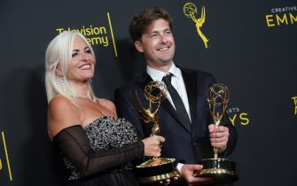 "LOS ANGELES, CALIFORNIA - SEPTEMBER 15: Claire Levinson-Gendler, and Luke Hull pose in the press room with their awards for outstanding production design for a narrative period or fantasy program (one hour or more) for ""Chernobyl"" during the 2019 Creative Arts Emmy Awards on September 15, 2019 in Los Angeles, California. (Photo by JC Olivera/WireImage)"