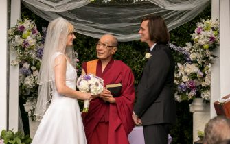 "(L-R): Judy Greer as Jill, Michael Yama as the Dalai Lama and Jim Carrey as Jeff Pickles in KIDDING, ""The Cleanest Liver in Columbus, Ohio"". Photo Credit: Nicole Wilder/SHOWTIME."