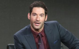 """PASADENA, CA - JANUARY 15:  Actor Tom Ellis speak onstage during the """"Lucifer"""" panel discussion at the FOX portion of the 2015 Winter TCA Tour at the Langham Huntington Hotel on January 15, 2016 in Pasadena, California  (Photo by Frederick M. Brown/Getty Images)"""