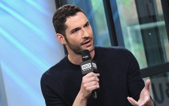 """NEW YORK, NY - MAY 12:  Actor Tom Ellis visits Build Series to discuss his role in the television show """"Lucifer"""" at Build Studio on May 12, 2017 in New York City.  (Photo by Gary Gershoff/WireImage)"""