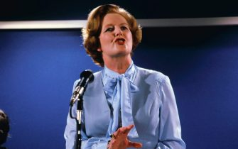 London England: Parliament member Margaret Thatcher during a press conference.