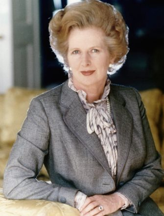 (Original Caption) 1983- London, England- The Rt. Honarable Margaret Thatcher is the Prime Minister, First Lord of the Treasury and Conservative Member of Parliament for Finchely, Burnet. She seated alone.