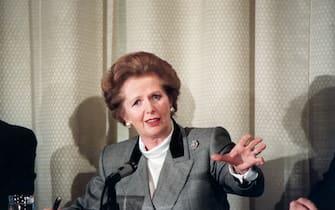 A portrait of British Prime Minister Margaret Thatcher.
