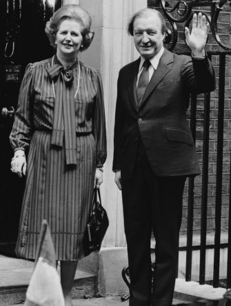 21st May 1980:  Irish Prime Minister Charles Haughey, on the steps of 10 Downing Street, London, with Margaret Thatcher, the British prime minister.  (Photo by David Levenson/Keystone/Getty Images)