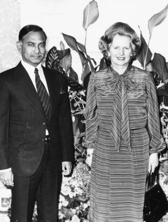 British Prime Minister Margaret Thatcher with President of Bangladesh  Ziaur Rahman at 10 Downing Street, London, June 16th 1980. (Photo by Monti Spry/Central Press/Getty Images)