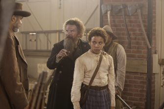 "(L-R): Victor Williams as the Coachman, Ethan Hawke as John Brown and Joshua Caleb Johnson as Onion in THE GOOD LORD BIRD, ""Last Words"". Photo Credit: William Gray/SHOWTIME."