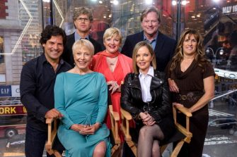 "NEW YORK, NY - APRIL 30:  (L-R standing) Matthew Labyorteaux, Michael Landon, Jr., Alison Arngrim, Dean Butler, Lindsay Greenbush, (L-R seated) Karen Grassle, and Melissa Sue Anderson of 'Little House On The Prairie' visit ""Extra"" at their New York studios at H&M in Times Square on April 30, 2014 in New York City.  (Photo by D Dipasupil/Getty Images for Extra)"