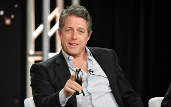 "PASADENA, CALIFORNIA - JANUARY 15: Hugh Grant of ""The Undoing"" speaks during the HBO segment of the 2020 Winter TCA Press Tour at The Langham Huntington, Pasadena on January 15, 2020 in Pasadena, California. (Photo by Amy Sussman/Getty Images)"