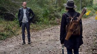 Lauren Cohan as Maggie, Jeffrey Dean Morgan as Negan - The Walking Dead _ Season 10, Episode 17 - Photo Credit: Eli Ade/AMC