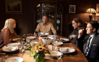 """The Dutton family (from L to R - Kelly Reilly, Kevin Costner, Luke Grimes and Wes Bentley) debate at the dinner  table in Paramount Network's hit drama series """"Yellowstone.""""  Episode 3 - """"The Reek of Desperation"""" premieres on Wednesday, July 10 at 10 p.m., ET/PT on Paramount Network."""