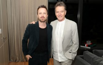 MIAMI, FLORIDA - FEBRUARY 01: Aaron Paul and Bryan Cranston attend 2020 Big Game Big Give at Star Island on February 01, 2020 in Miami, Florida. (Photo by Bobby Metelus/Getty Images for Giving Back Fund )