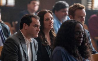 """(L-R): Michael Stulbarg as Jimmy Baxter, Hope Davis as Gina Davis and Tony Curran as Frankie in YOUR HONOR, """"Part Two"""". Photo Credit: Skip Bolen/SHOWTIME."""