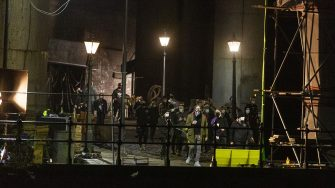 Crew members set up in-between shots. The filming of Peaky Binders seasons 6 starts filming in Manchester City centre. The are of Castlefield, in Manchester, has been transformed, pictured in Manchester, February 24 2021.