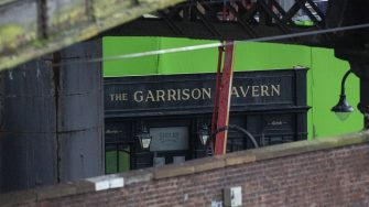 A green screen can be seen behind The Garrison Tavern. The filming of Peaky Binders seasons 6 starts filming in Manchester City centre. The are of Castlefield, in Manchester, has been transformed, pictured in Manchester, February 24 2021.