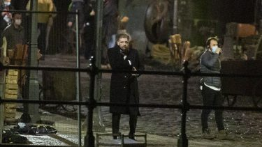 Paul Anderson, who plays Arthur Shelby, is pictured before a scene. The filming of Peaky Binders seasons 6 starts filming in Manchester City centre. The are of Castlefield, in Manchester, has been transformed, pictured in Manchester, February 24 2021.