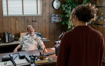 """(L-R): John Pirruccello as Sheriff Royce and Carmen Ejogo as Lee Delamere in YOUR HONOR, """"Part Four"""". Photo Credit: Skip Bolen/SHOWTIME."""