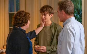 "(L-R): Margo Martindale as Elizabeth Guthrie, Hunter Doohan as Adam Desiato and Bryan Cranston as Michael Desiato in YOUR HONOR, ""Part Four"". Photo Credit: Skip Bolen/SHOWTIME."
