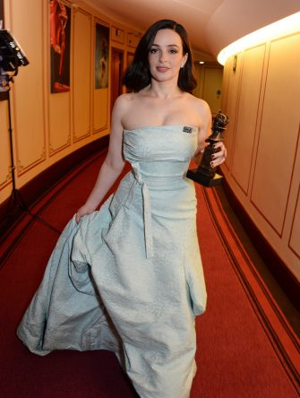 """LONDON, ENGLAND - APRIL 08:  Laura Donnelly, winner of the Best Actress award for """"The Ferryman"""", poses in the press room during The Olivier Awards with Mastercard at Royal Albert Hall on April 8, 2018 in London, England.  (Photo by David M. Benett/Dave Benett/Getty Images)"""