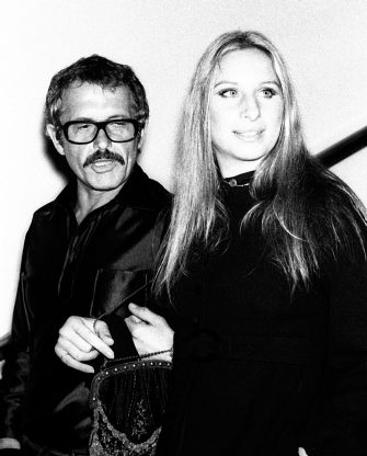Barbra Streisand and Joe Eula attend Valentino Fashion Party on September 27, 1970 at the Pierre Hotel in New York City. (Photo by Ron Galella/Ron Galella Collection via Getty Images)