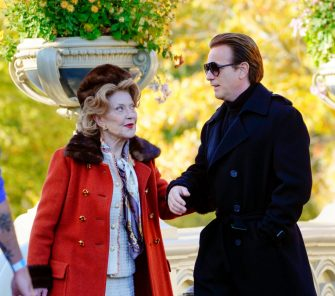 """NEW YORK, NEW YORK - NOVEMBER 05: Kelly Bishop and Ewan McGregor film a scene for """"Simply Halston"""" in Central Park on November 05, 2020 in New York City. (Photo by Gotham/GC Images)"""