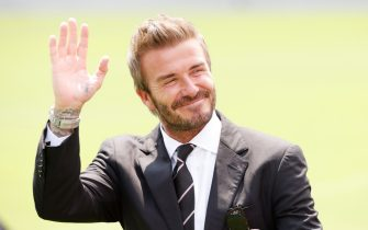 FORT LAUDERDALE, FLORIDA - APRIL 18: David Beckham, owner of Inter Miami CF, greets fans prior to the game between Inter Miami FC and the Los Angeles Galaxy at DRV PNK Stadium on April 18, 2021 in Fort Lauderdale, Florida. (Photo by Cliff Hawkins/Getty Images)