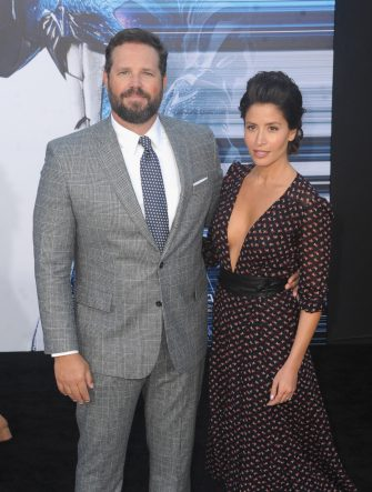 """WESTWOOD, CA - MARCH 22:  Actor David Denman and actress Mercedes Mason arrive for the Premiere Of Lionsgate's """"Power Rangers""""  held on March 22, 2017 in Westwood, California.  (Photo by Albert L. Ortega/Getty Images)"""