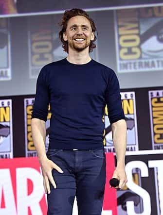 SAN DIEGO, CALIFORNIA - JULY 20: Tom Hiddleston of Marvel Studios' 'Loki' at the San Diego Comic-Con International 2019 Marvel Studios Panel in Hall H on July 20, 2019 in San Diego, California. (Photo by Alberto E. Rodriguez/Getty Images for Disney)
