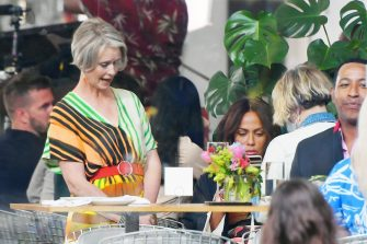 New York, NY  - Co-stars Kristin Davis, Sarah Jessica Parker, and Cynthia Nixon filming 'And Just Like That...' with Nicole Ari Parker, at Whitney Museum of American Art.  Pictured: Nicole Ari Parker, Cynthia Nixon  BACKGRID USA 13 JULY 2021   USA: +1 310 798 9111 / usasales@backgrid.com  UK: +44 208 344 2007 / uksales@backgrid.com  *UK Clients - Pictures Containing Children Please Pixelate Face Prior To Publication*