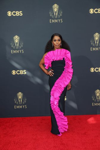 LOS ANGELES, CA - SEPTEMBER 19:   Angela Bassett arrives on the red carpet for the 73rd Annual Emmy Awards taking place at LA Live on Sunday, Sept. 19, 2021 in Los Angeles, CA. (Jay L. Clendenin / Los Angeles Times via Getty Images)