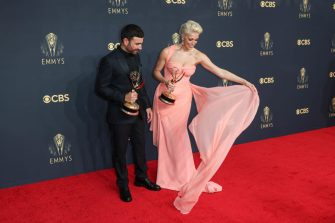 LOS ANGELES, CALIFORNIA - SEPTEMBER 19: (L-R) Brett Goldstein, winner of the Outstanding Supporting Actor in a Comedy Series award for Ted Lasso, and Hannah Waddingham, winner of the Outstanding Supporting Actress in a Comedy Series award for Ted Lasso, pose in the press room during the 73rd Primetime Emmy Awards at L.A. LIVE on September 19, 2021 in Los Angeles, California. (Jay L. Clendenin / Los Angeles Times via Getty Images)
