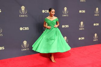 LOS ANGELES, CA - SEPTEMBER 19:     Yara Shahidi arrives on the red carpet for the 73rd Annual Emmy Awards taking place at LA Live on Sunday, Sept. 19, 2021 in Los Angeles, CA. (Jay L. Clendenin / Los Angeles Times via Getty Images)