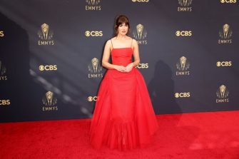 LOS ANGELES, CA - SEPTEMBER 19:    Mandy Moore arrives on the red carpet for the 73rd Annual Emmy Awards taking place at LA Live on Sunday, Sept. 19, 2021 in Los Angeles, CA. (Jay L. Clendenin / Los Angeles Times via Getty Images)