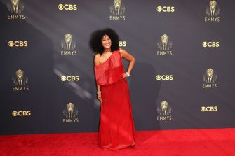 LOS ANGELES, CA - SEPTEMBER 19:    Tracee Ellis Ross arrives on the red carpet for the 73rd Annual Emmy Awards taking place at LA Live on Sunday, Sept. 19, 2021 in Los Angeles, CA. (Jay L. Clendenin / Los Angeles Times via Getty Images)
