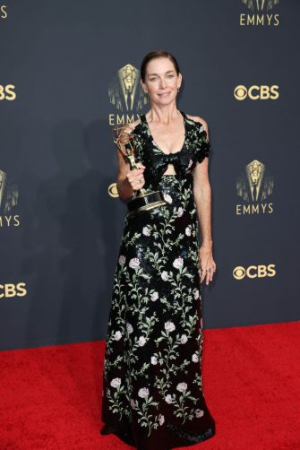 LOS ANGELES, CALIFORNIA - SEPTEMBER 19: Julianne Nicholson, winner of the Outstanding Supporting Actress In A Limited Or Anthology Series Or Movie award for Mare Of Easttown, poses in the press room during the 73rd Primetime Emmy Awards at L.A. LIVE on September 19, 2021 in Los Angeles, California. (Jay L. Clendenin / Los Angeles Times via Getty Images)