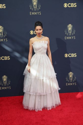 LOS ANGELES, CA - SEPTEMBER 19:    Jurnee Smollett  arrives on the red carpet for the 73rd Annual Emmy Awards taking place at LA Live on Sunday, Sept. 19, 2021 in Los Angeles, CA. (Jay L. Clendenin / Los Angeles Times via Getty Images)