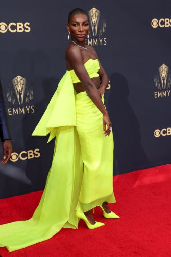 Los Angeles, CA - September 19: Michaela Coel attends the 73rd Primetime Emmy Awards at L.A. Live on Sunday, Sept. 19, 2021 in Los Angeles, CA.  (Jay L. Clendenin / Los Angeles Times via Getty Images)