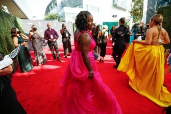 Los Angeles, CA - September 19:  Uzo Aduba  walks the red carpet at the 73rd Primetime Emmy Awards at L.A. Live on Sunday, Sept. 19, 2021 in Los Angeles, CA.  (Al Seib / Los Angeles Times via Getty Images)
