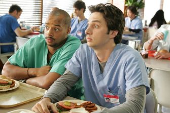 "SCRUBS -- NBC Series -- ""My Rite of Passage"" -- Pictured: (l-r) Donald Faison as Chris Turk, Zach Braff as John ""J.D."" Dorian -- NBC Entertainment Photo: Justin Lubin"