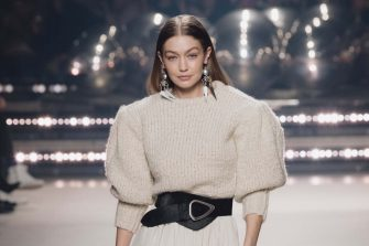 PARIS, FRANCE - FEBRUARY 27: (EDITORIAL USE ONLY) Gigi Hadid walks the runway during the Isabel Marant show as part of Paris Fashion Week Womenswear Fall/Winter 2020/2021 on February 27, 2020 in Paris, France. (Photo by Kristy Sparow/Getty Images)