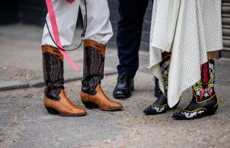 LONDON, ENGLAND - JUNE 09: Guests seen wearing cowboy boots outside Xander Zhou during London Fashion Week Men's June 2019 on June 09, 2019 in London, England. (Photo by Christian Vierig/Getty Images)