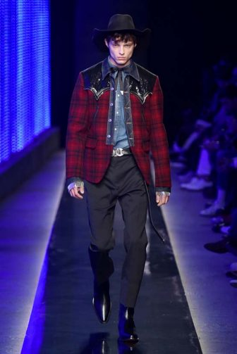 MILAN, ITALY - JANUARY 14:  A model walks the runway at the DSquared2 Autumn Winter 2018 fashion show during Milan Menswear Fashion Week on January 14, 2018 in Milan, Italy.  (Photo by Catwalking/Getty Images)