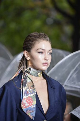 PARIS, FRANCE - SEPTEMBER 25: Gigi Hadid walks the runway during the Lanvin Womenswear Spring/Summer 2020 show as part of Paris Fashion Week on September 25, 2019 in Paris, France. (Photo by Peter White/Getty Images)