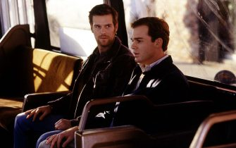 Jan 23, 2002; Hollywood, California, USA; Actor PETER KRAUSE as Nate Fisher & MICHAEL C. HALL as David Fisher in the dramatic dark comedy of a family who owns a Los Angeles mortuary. Mandatory Credit: Photo by L.Watson/HBO/ZUMA Press.(©) Copyright 2002 by Courtesy of HBO