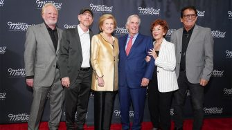 """LOS ANGELES, CALIFORNIA - NOVEMBER 13: (L-R) Don Most, Ron Howard, Barbara Marshall, Henry Winkler, Marion Ross and Anson Williams attend Garry Marshall Theatre's 3rd Annual Founder's Gala Honoring Original """"Happy Days"""" Cast at The Jonathan Club on November 13, 2019 in Los Angeles, California. (Photo by Rachel Luna/Getty Images)"""
