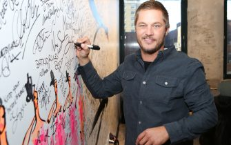 """NEW YORK, NY - FEBRUARY 18:  Travis Fimmel attends """"Vikings""""at AOL Studios In New York on February 18, 2016 in New York City.  (Photo by Adela Loconte/WireImage)"""